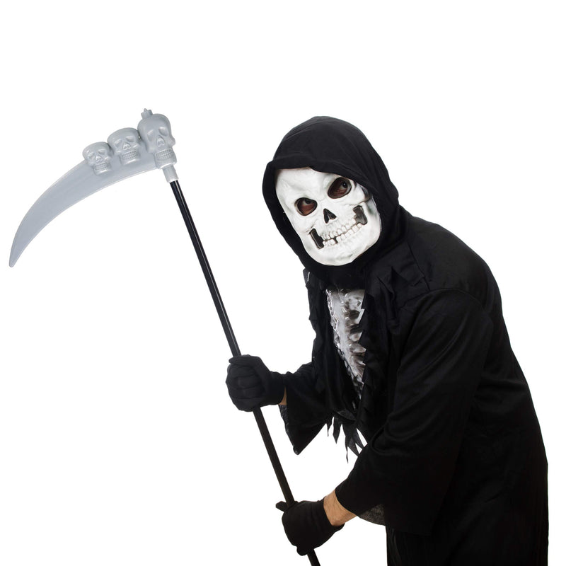 Scythe Staff with Skulls - Grim Reaper Death Scythe Costume Accessories Weapon Prop