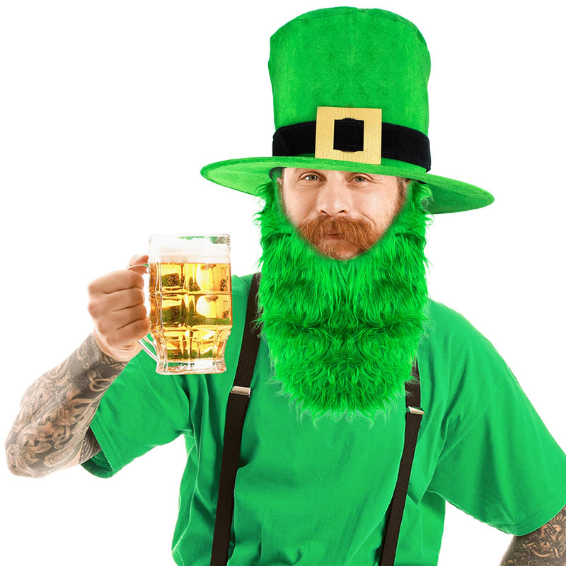 Irish Hat and Beard - Green Leprechaun Top Hat and Beard St Patricks Day Costume Accessories