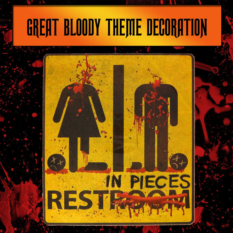 Bloody Restroom Sign Sticker - Halloween, Haunted House and Horror Themed Parties Bathroom Door Decoration - Removable, Sticks on Most Surfaces, Comes Off Clean
