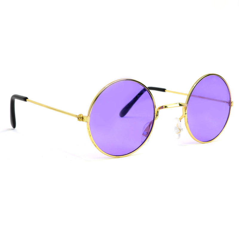 Purple Round Hippie Glasses - Purple 60's Style Hipster Circle Sunglasses - 1 Pair