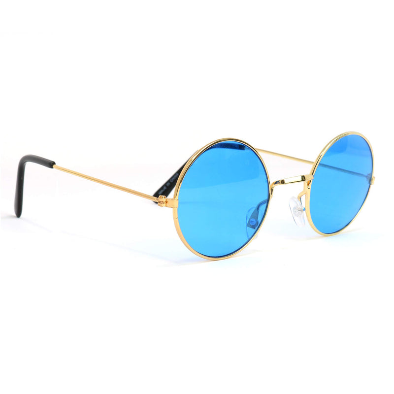 Blue Circle Hippie Glasses - Blue 60's Style Hipster Circle Sunglasses - 1 Pair