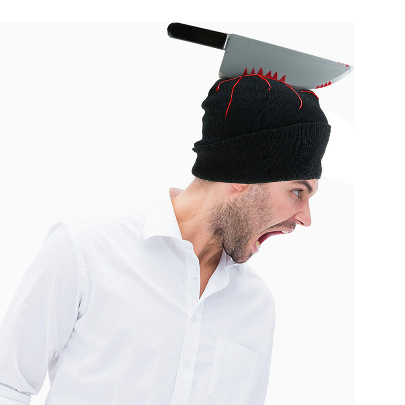 Zombie Scary Knife Hat - Bloody Zombies Horror Costume Accessories Beanie Hat with Large Butcher Weapon Black