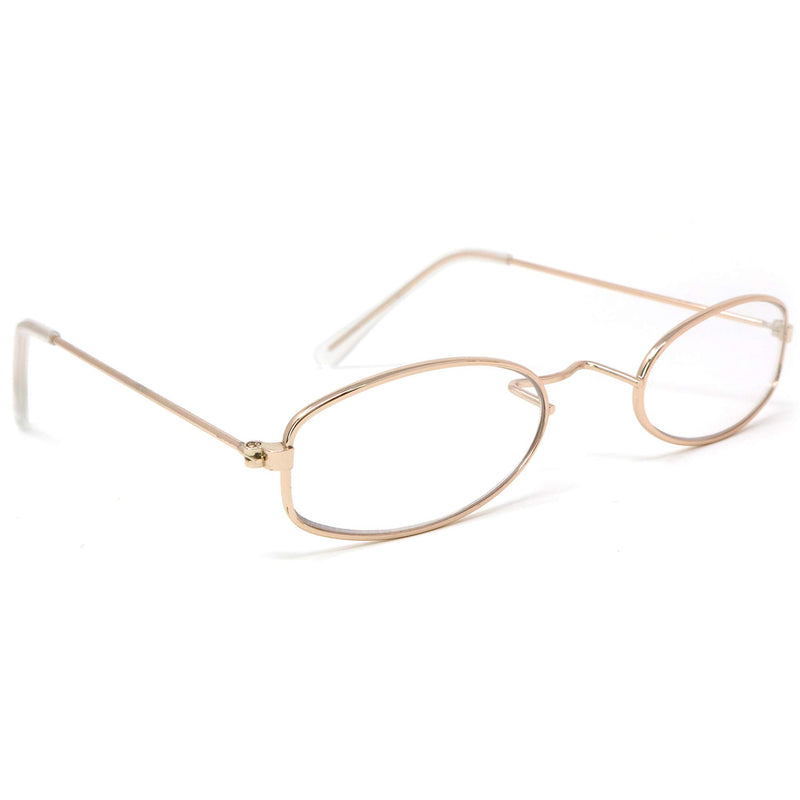 Old Man Costume Glasses - Gold Oval Granny Dress Up Eyeglasses - 1 Pair
