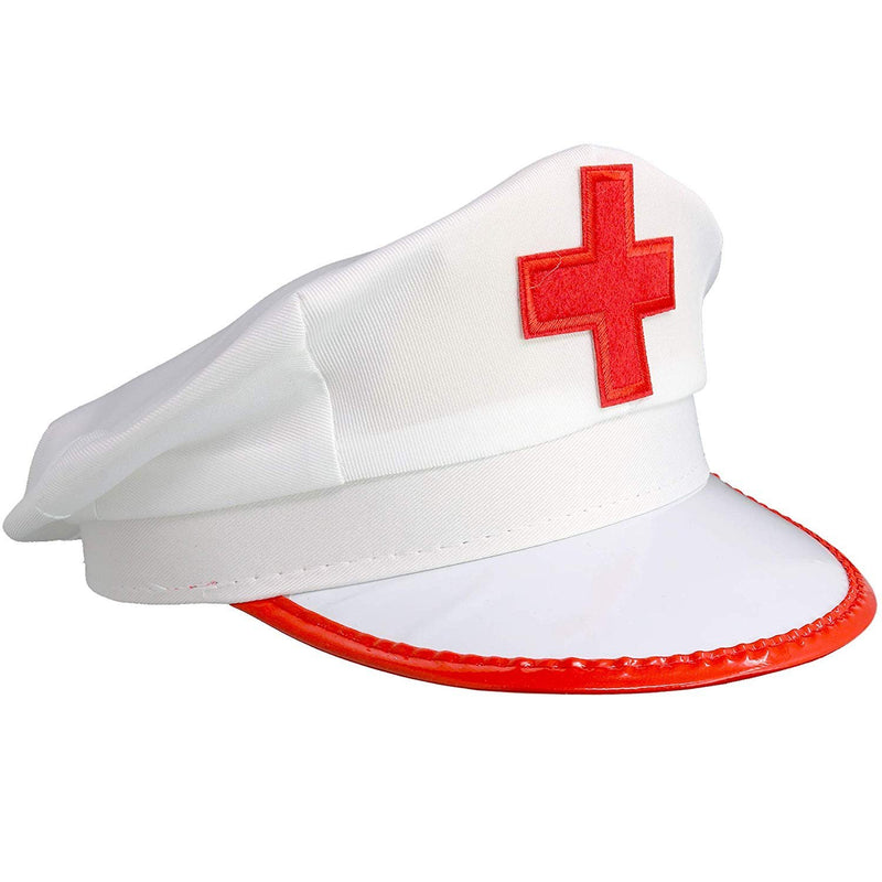 White Nurse Costume Hat - Nurses Red and White Costume Cap - 1 Piece