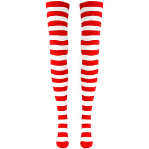 Over The Knee Striped Red and White Socks