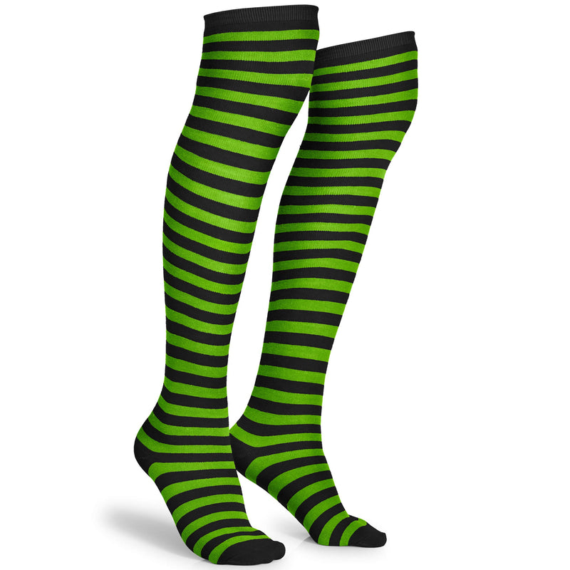Black and Green Socks - Over The Knee Striped Thigh High Costume Accessories Stockings for Men, Women and Kids