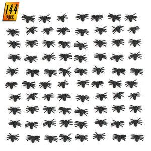 Skeleteen Realistic Spider Table Sprinkles - Fake Spiders for Decorations and Favors - 144 Pieces