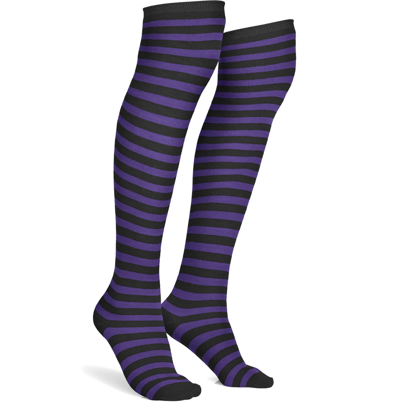 Purple and Black Socks - Over The Knee Striped Thigh High Costume Accessories Stockings for Men, Women and Kids