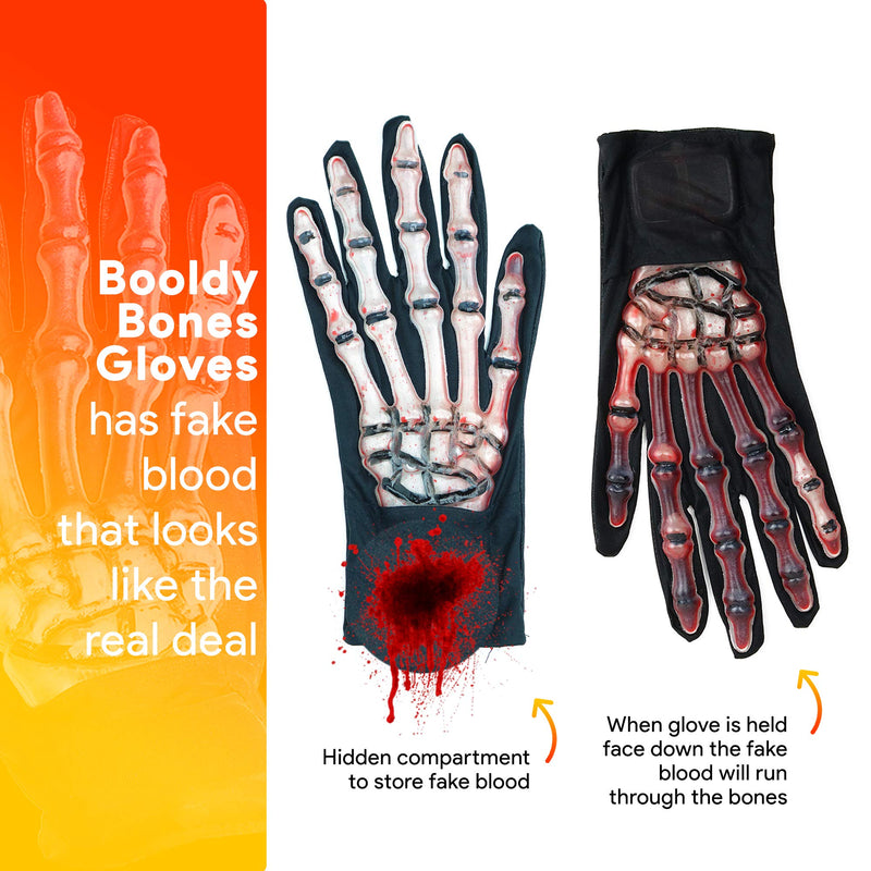 Blood Zombie Skeleton Gloves - Skeleton Hands with Realistic Blood Costume Accessories Gloves - 1 Pair