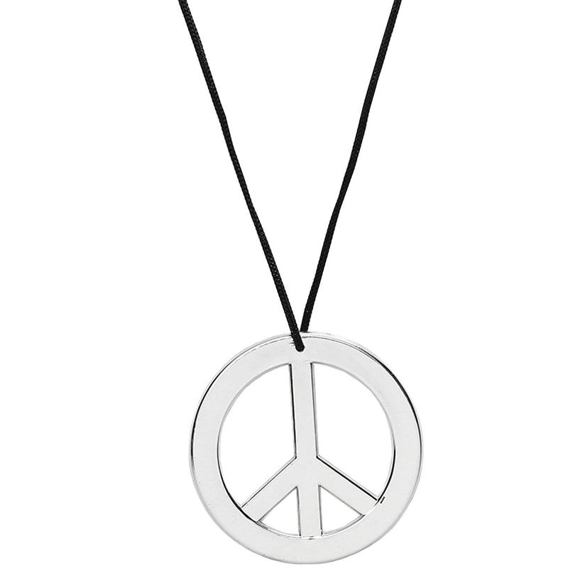 Silver Peace Sign Pendant - 1960s 1970s Hippie Party Accessories Necklace - 1 Piece