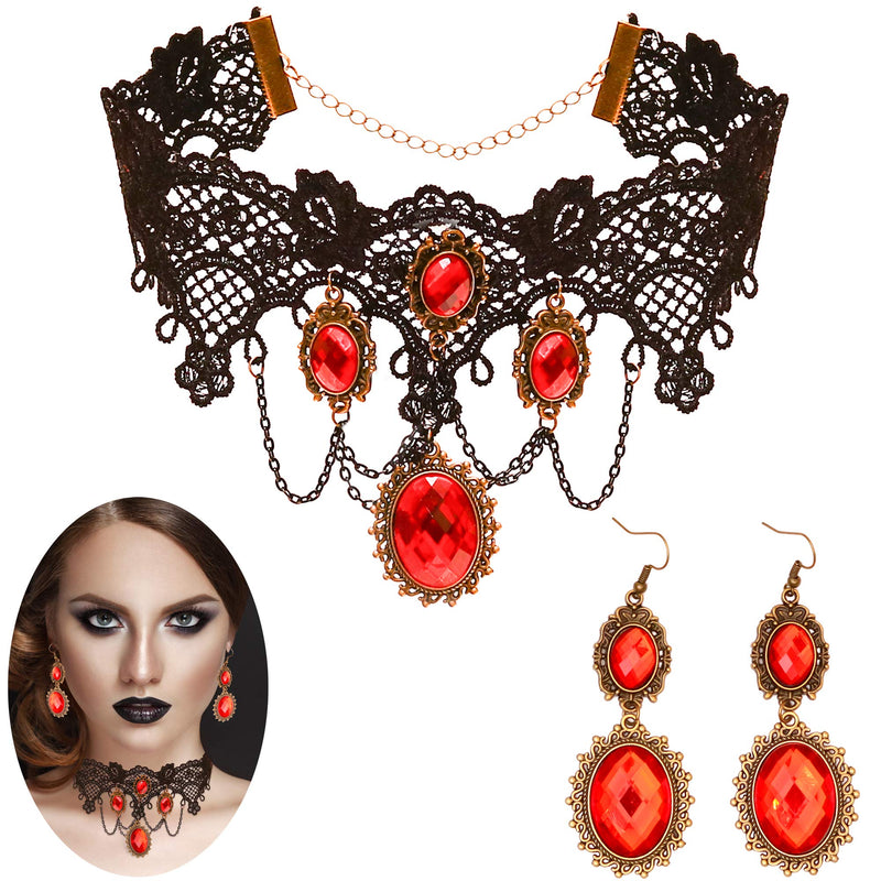 Gothic Vampire Jewelry Set - Black Lace Choker with Red Rhinestone Earrings Pirate Accessories Set for Women and Girls