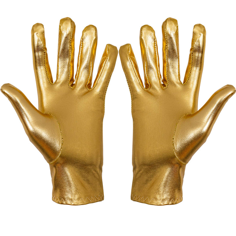 Metallic Gold Costume Gloves - Shiny Gold Princess Evening Stretch Dress Glove Set for Men, Women and Kids