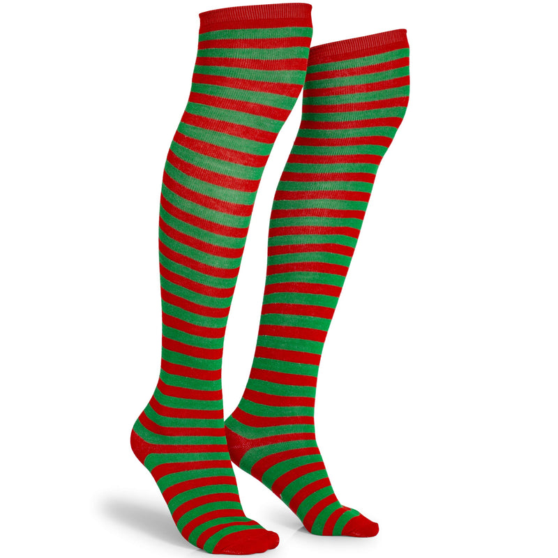 Red and Green Socks - Over The Knee Elf Striped Thigh High Costume Accessories Stockings for Men, Women and Kids