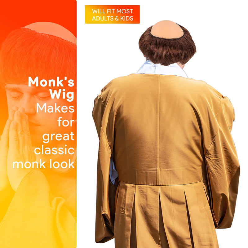 Monk Wig with Tonsure - Bald Cap Wig with Brown Friar Hair Cut Costume Wig for Adults and Kids