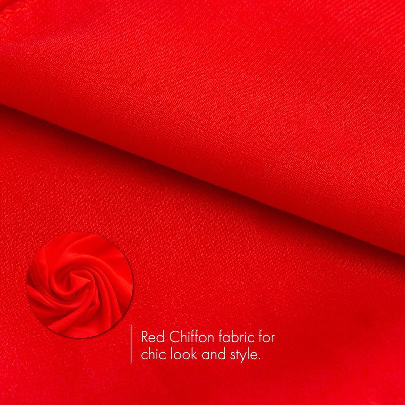 Chiffon Head Neck Scarf - Red Classic Retro Sheer Square Head Scarves Handkerchiefs Handbag Ties for Women and Girls