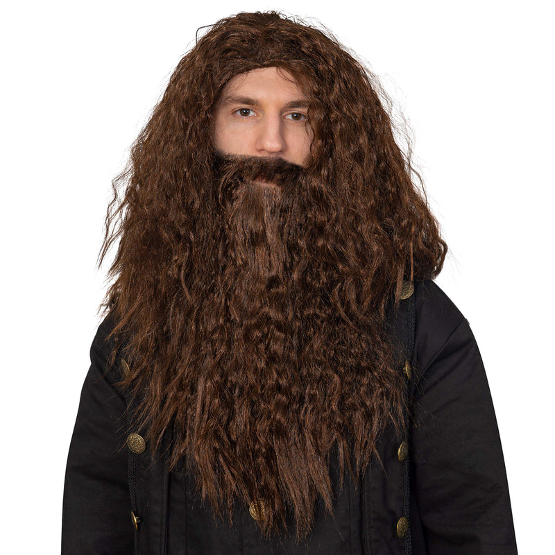 Brown Wig and Beard - Brown Wavy Biblical Costume Accessories Hair Wig and Beard Set for Adults and Kids