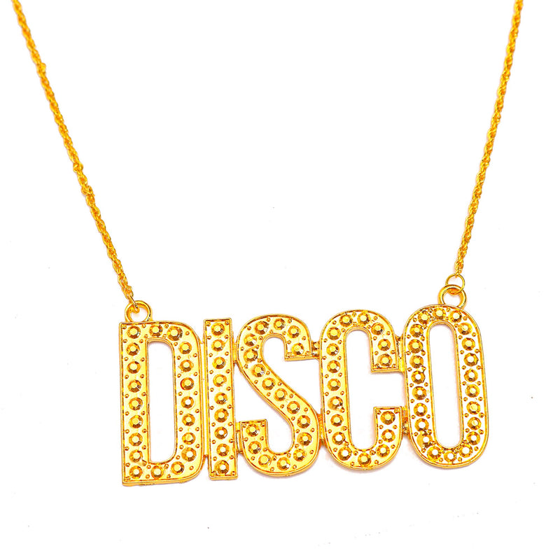 Gold Chain Disco Necklace - 1970s Faux Bling Jewelry Costume Accessories for Adults and Children