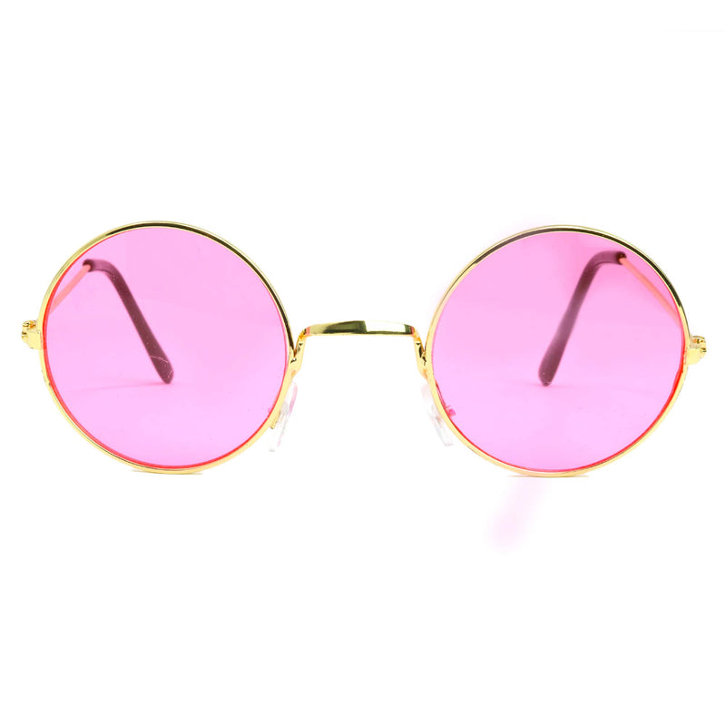 Pink Round Hippie Glasses - Pink 60's Style Hipster Circle Sunglasses - 1 Pair