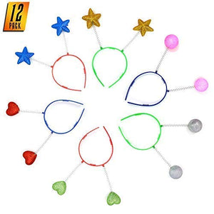 Skeleteen Glitter Antenna Head Boppers - Rainbow Shapes Novelty Headbands - 12 Pieces