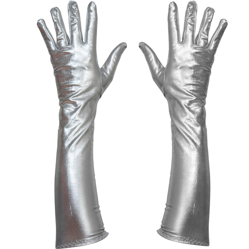 Silver Metallic Opera Gloves - Roaring 20's Fancy Flapper Elbow Evening Gloves Accessories for Women and Girls