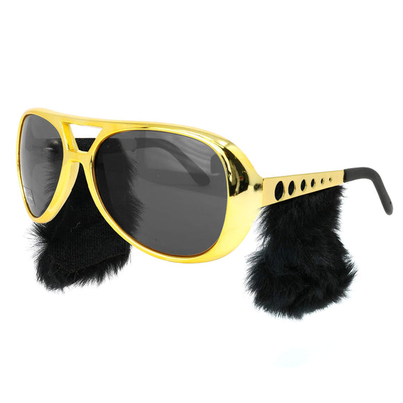 Gold Rockstar Costume Glasses with Sideburns - King of Rock N Roll