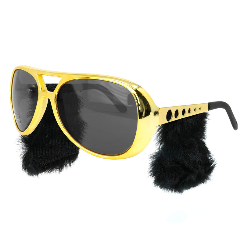 Gold Rockstar Costume Glasses - Gold Celebrity Aviator Shades with Sideburns - 1 Pair