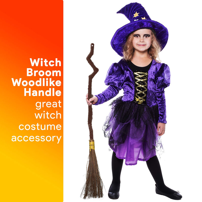 Witch Broomstick Costume Accessories - Realistic Wizard Flying Broom Stick Costumes Accessory for Kids and Adults Brown