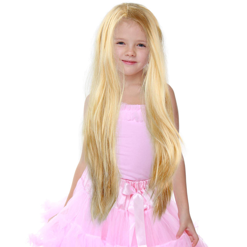 Long Blond Princess Wig - Blonde Kids Pretend Play Costume Accessories Princess Wigs for Children