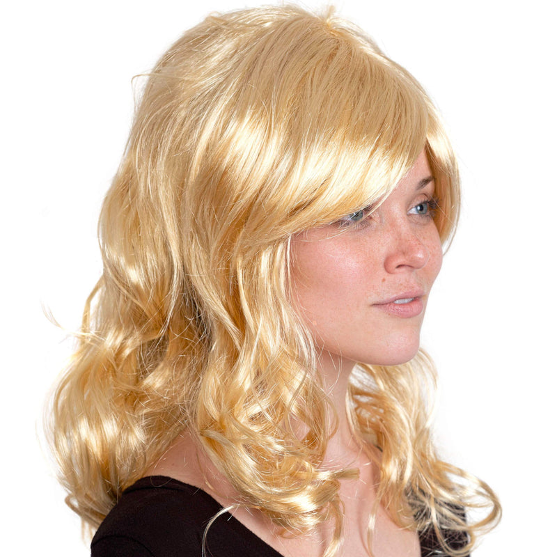 Curly Blond Wavy Wig - Long Curls Yellow Blonde Princess Goddess Wigs with Bangs for Kids and Adults