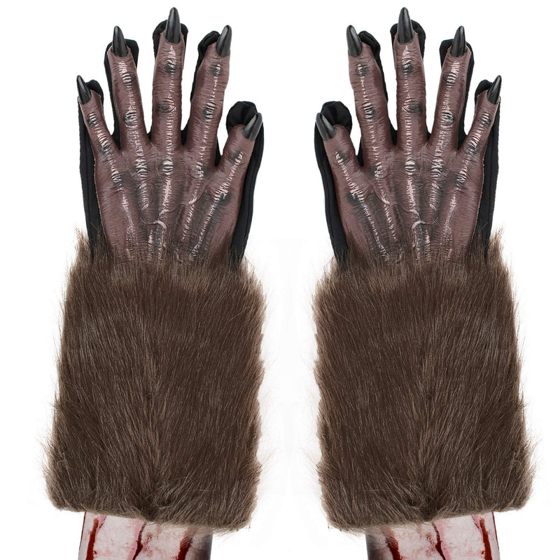 Werewolf Hand Costume Gloves - Brown Hairy Wolf Claw Hands Paws Monster Costume Accessories for Kids and Adults