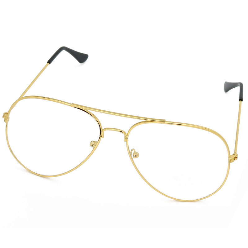 Clear Lens Costume Glasses - 70's Style Aviator Gold Wire Rimmed Clear Sunglasses for Adults and Kids