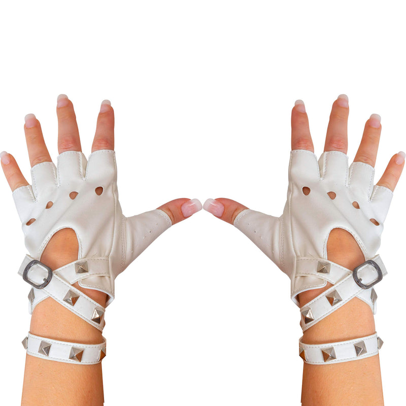 Fingerless Faux Leather Gloves - White Biker Punk Gloves with Belt Up Closure and Rivet Design for Women and Kids