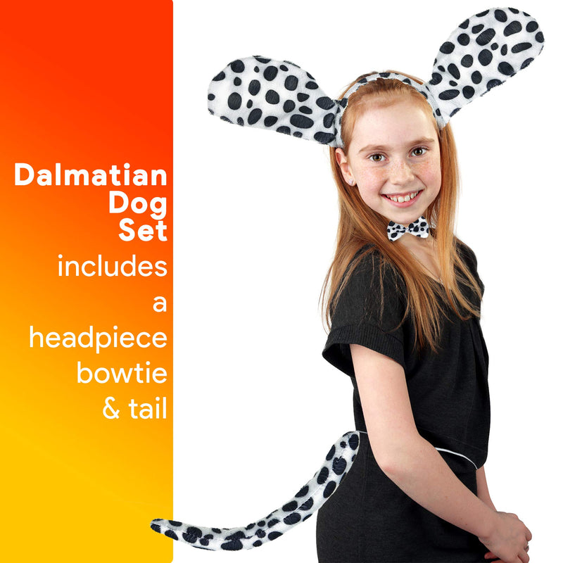 Dalmatian Dog Costume Set - Black and White Dog Ears Headband, Bowtie and Tail Accessories Set for Dog Costumes for Toddlers and Kids
