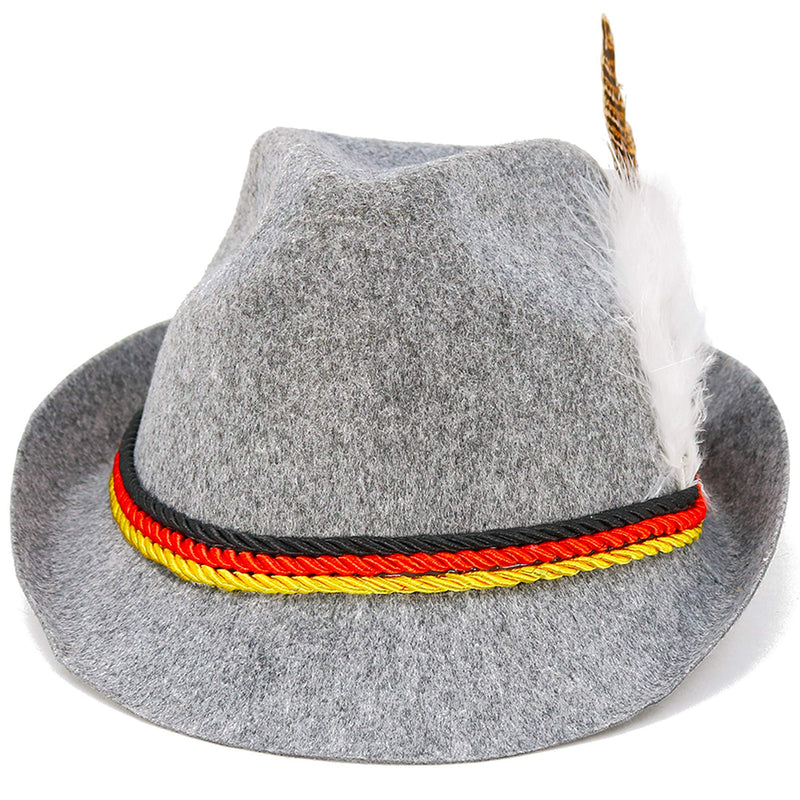 German Oktoberfest Alpine Fedora - Bavarian Swiss Traditional Trachten Felt Costume Hat with Feather for Kids and Adults Grey