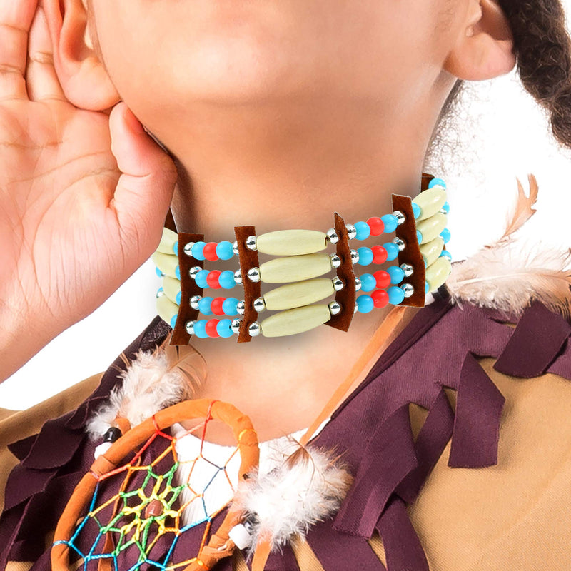 Native American Choker Necklace - Indian Costume Accessories Ethnic Beaded Jewelry