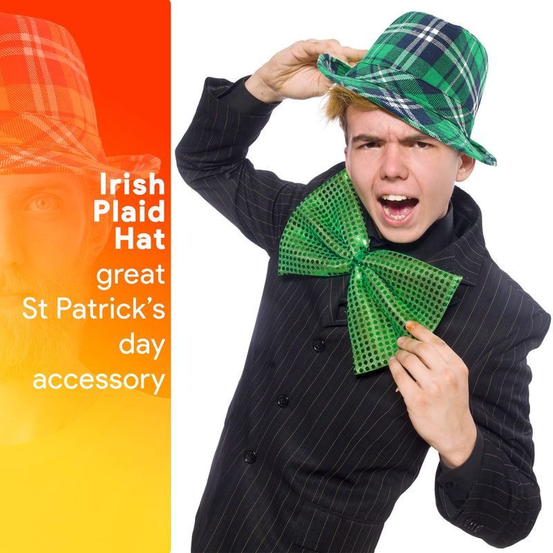 Irish Plaid Green Fedora - St. Patrick's Day Costume Accessories Leprechaun Hat for Men Women and Kids