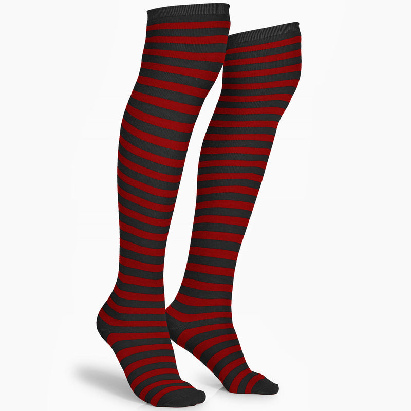 Black and Red Socks - Over The Knee Striped Thigh High Costume Accessories Stockings for Men, Women and Kids