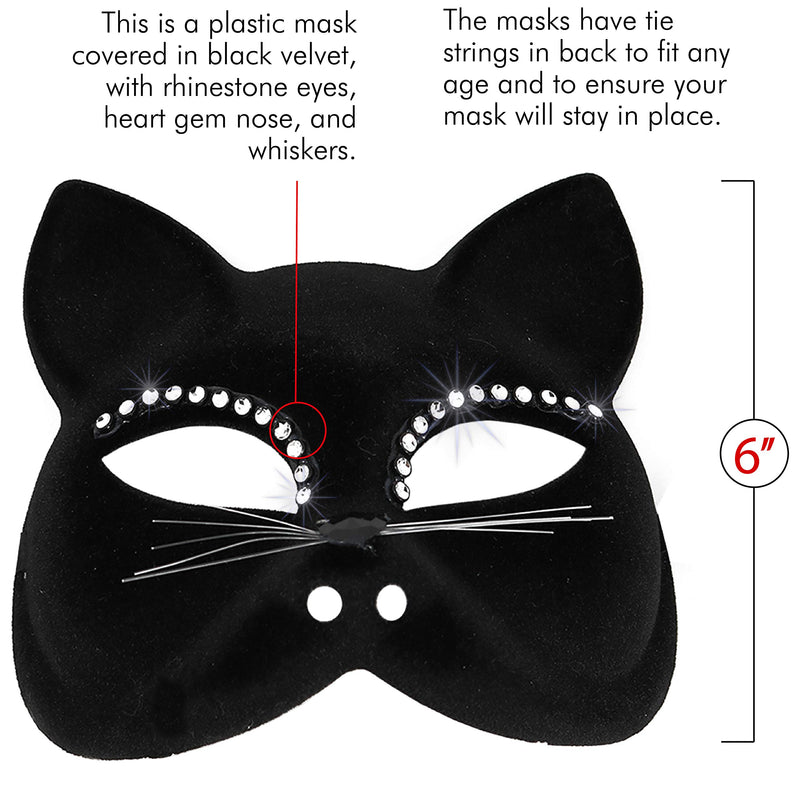 Venetian Black Cat Mask - Masquerade Costume Half Face Eye Mask for Kids and Adults