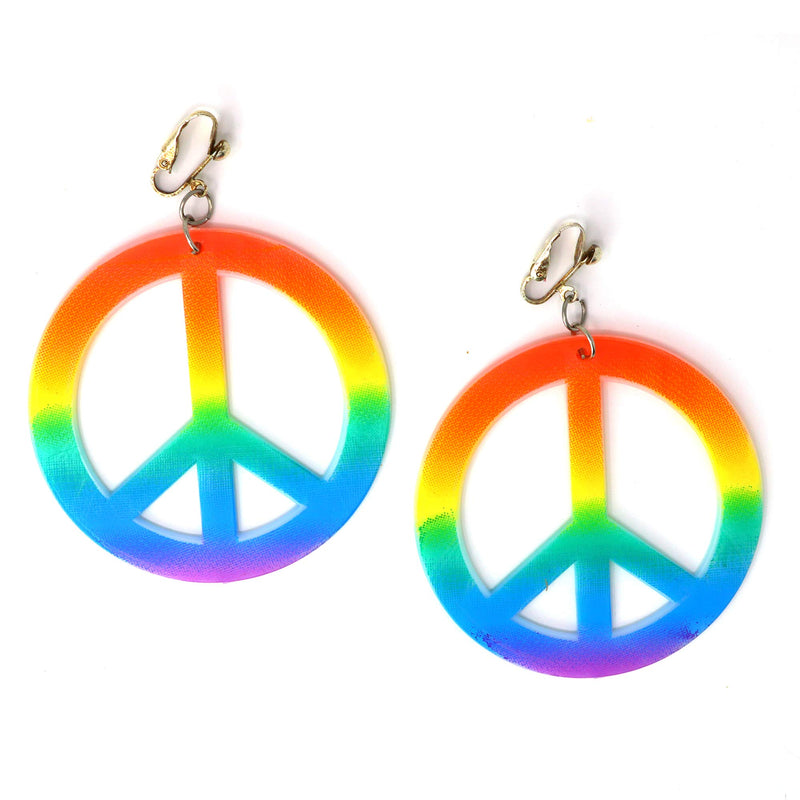 Hippie Style Peace Earrings - 1960's Hipster Fashion Peace Ear Rings - 1 Pair