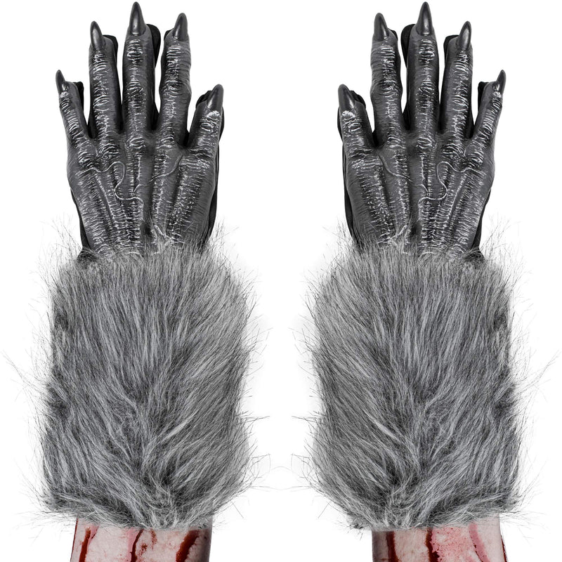 Werewolf Hand Costume Gloves - Grey Hairy Wolf Claw Hands Paws Monster Costume Accessories for Kids and Adults