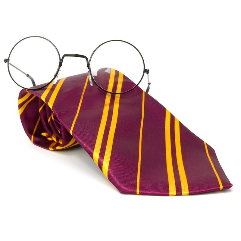 Wizard Glasses and Tie - Maroon and Gold Dress Up Tie and Black Round Glasses Set - 1 Pair