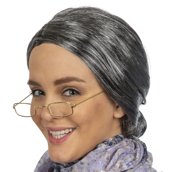 Grey Granny Wig and Fake Gold Rectangle Eyeglasses Set