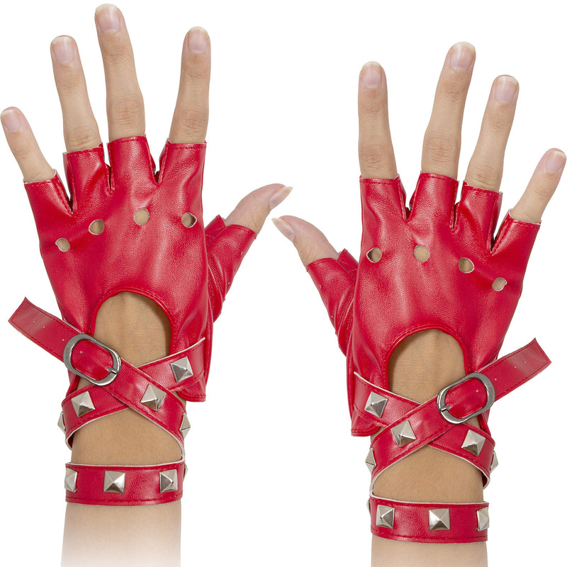 Fingerless Faux Leather Gloves - Red Biker Punk Gloves with Belt Up Closure and Rivet Design for Women and Kids