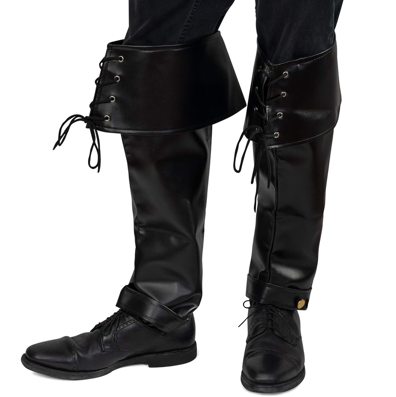Faux Leather Pirate Boots - Over The Shoe Black Costume Bo... Laces for Medieval and Renaissance Costumes for Adults and Children