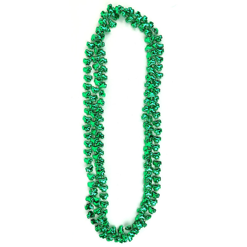 Green Shamrock Beads Necklaces - St Patricks Day Irish Clover Bead Necklace Party Favors Pack - 1 Dozen