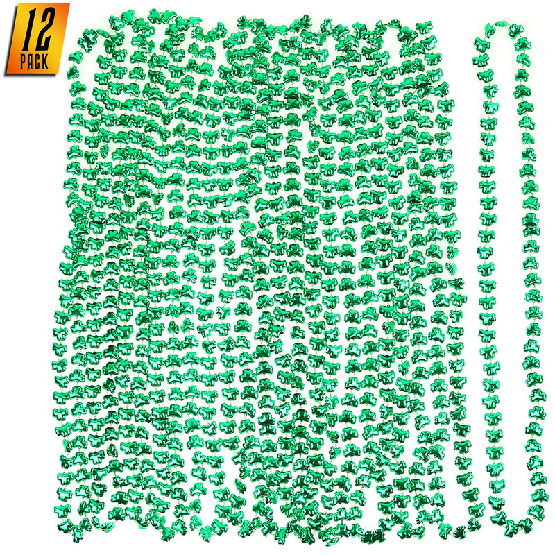 1 Dozen Green Shamrock Bead Necklaces