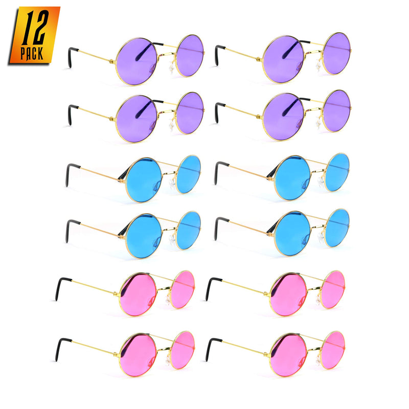 Tinted Round Hippie Glasses Pink Purple and Blue 60's Style Hipster Circle Sunglasses - 12 Pairs