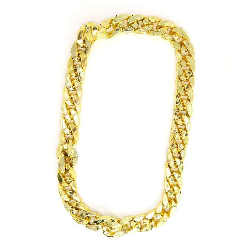 Rapper Gold Chain Accessory - 90s Hip Hop Fake Gold Costume Necklace - 1 Piece
