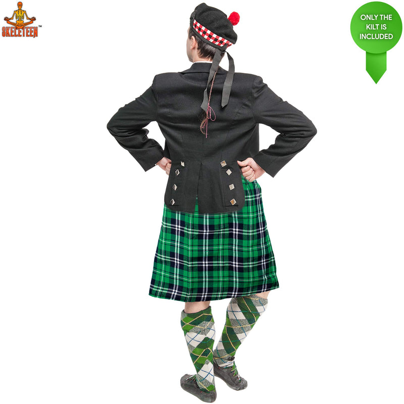 Irish Plaid Green Kilt - Scottish Green Pleated Costume Tartan Skirt Kilts Clothing for Men and Women