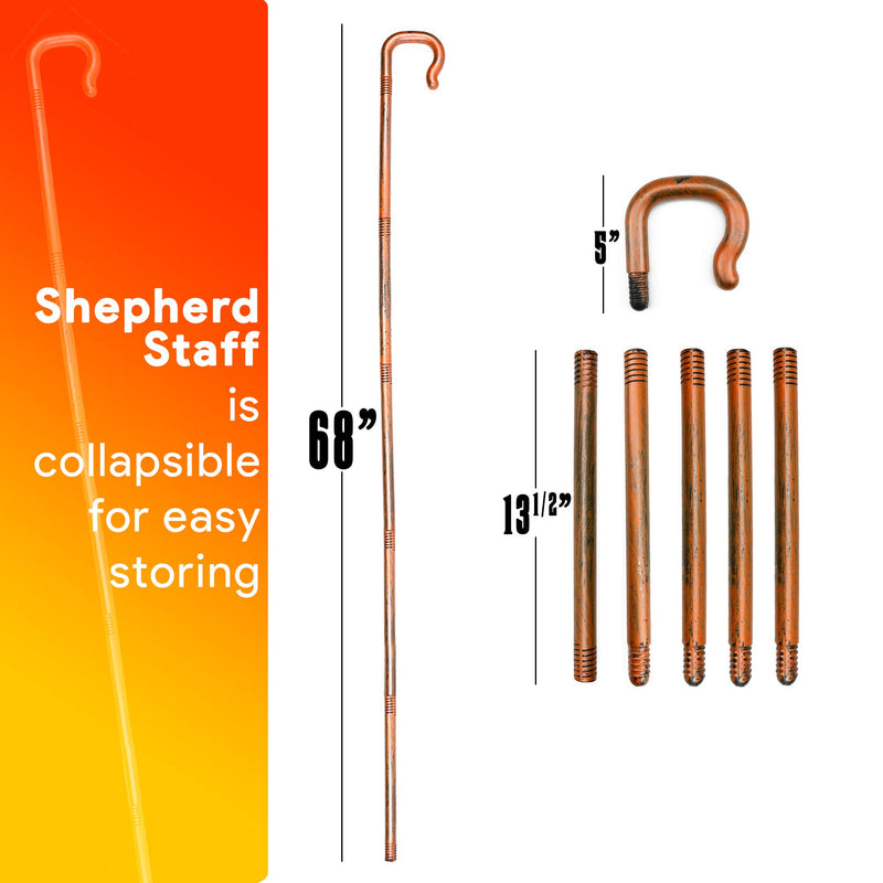 Shepherd's Costume Crook Staff - Shepherd Gold Wood Like Hook Cane for Cosplay and Dress Up